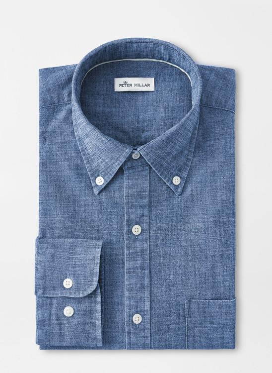 Tamworth Chambray Cotton-Blend Sport Shirt in Indigo by Peter Millar