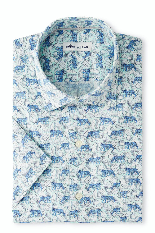 Jungle Exotic Cotton-Blend Sport Shirt in Ebb Tide by Peter Millar