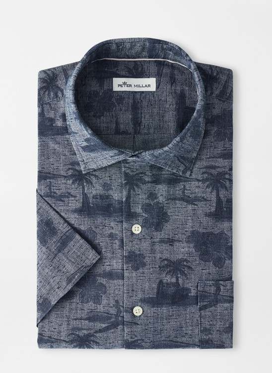 Lanai Landscape Cotton-Blend Short-Sleeve Sport Shirt in Indigo by Peter Millar