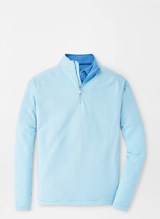 drirelease® Natural Touch Stripe Quarter-Zip in Bayside Blue by Peter Millar