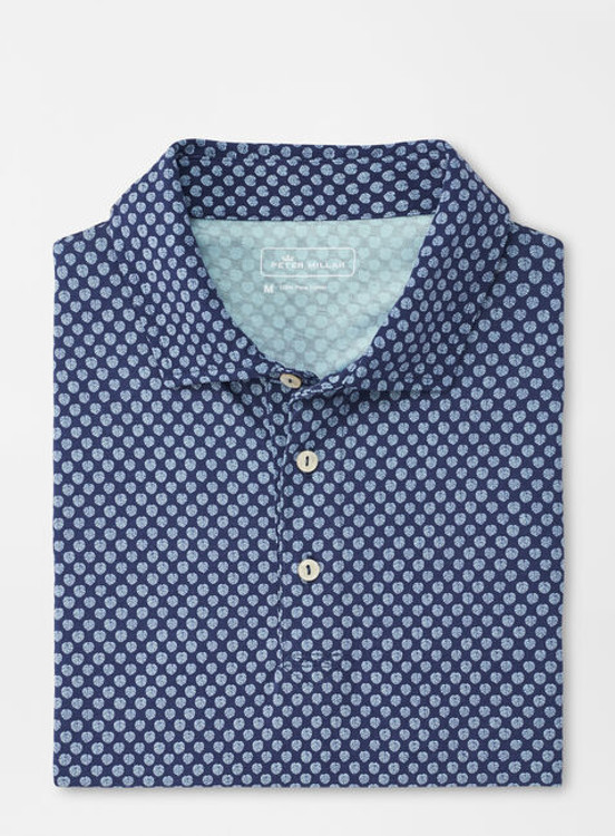 Blue Fronds Aqua Cotton Polo in Atlantic Blue by Peter Millar