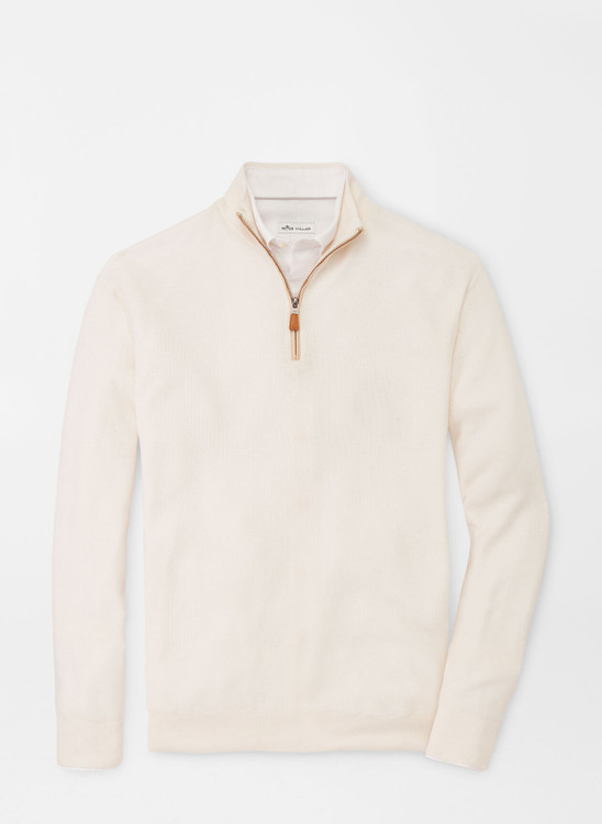 Crown Soft Honeycomb Quarter-Zip Sweater in Summer Ivory by Peter Millar