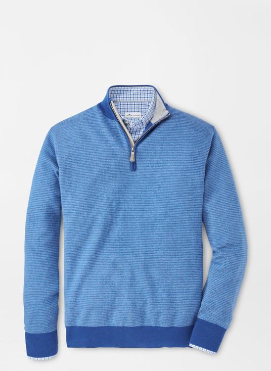 Crown Soft Jacquard Quarter-Zip Sweater in Deep Ocean by Peter Millar