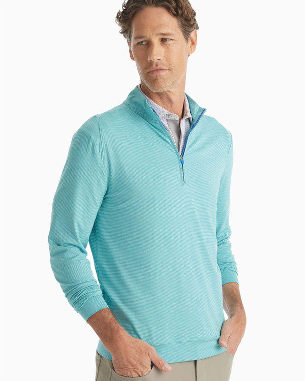 Vaughn Striped 1/4 Zip PREP-FORMANCE Pullover in Tropical by johnnie-O