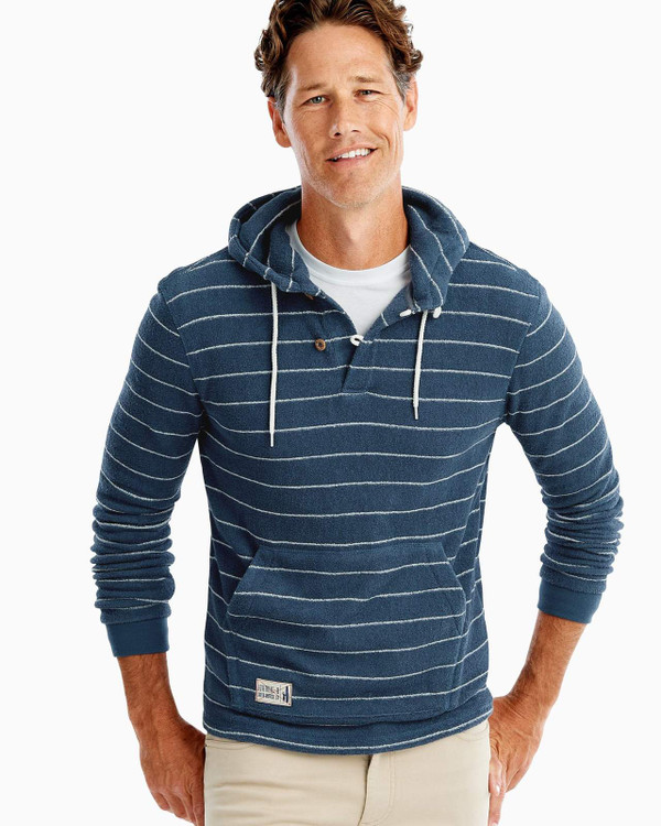 Outboard Stripe Hooded Henley in Indigo by johnnie-O