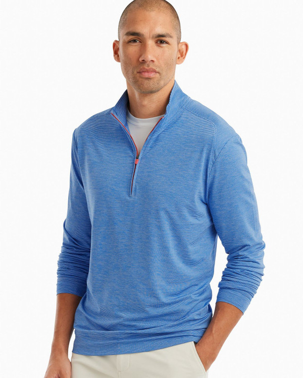 Vaughn Striped 1/4 Zip PREP-FORMANCE Pullover in Delray by johnnie-O