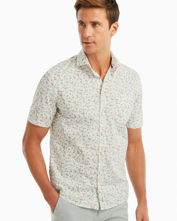 Stampede Printed Hangin' Out Short Sleeve Shirt in White by johnnie-O