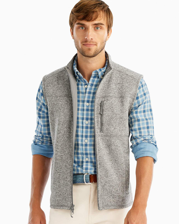 Wes Zip Front Vest in Light Grey by johnnie-O