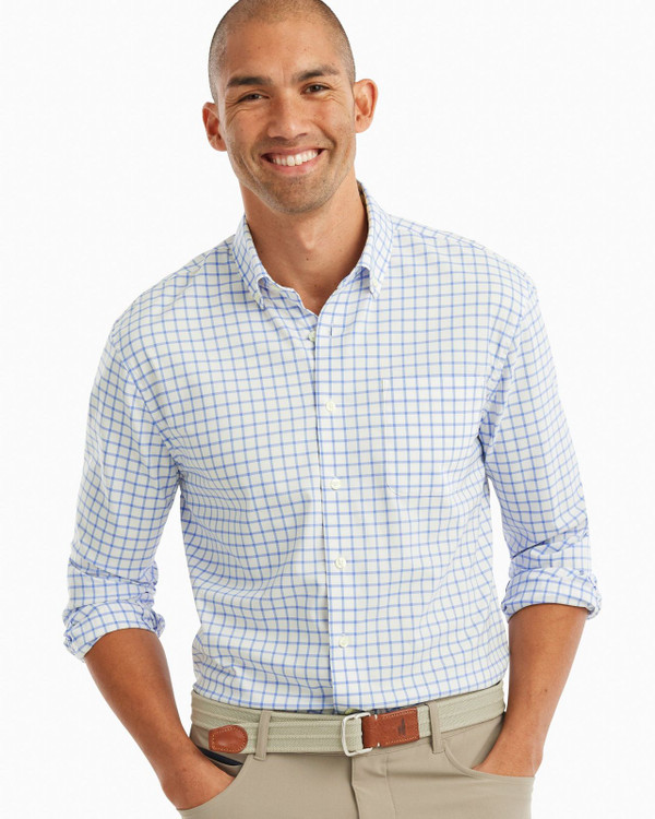 Signor PREP-FORMANCE Button Down Shirt in Laguna Blue by johnnie-O