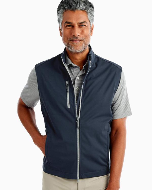 Crest 2-Way Zip Front Wind Vest in Wake by johnnie-O