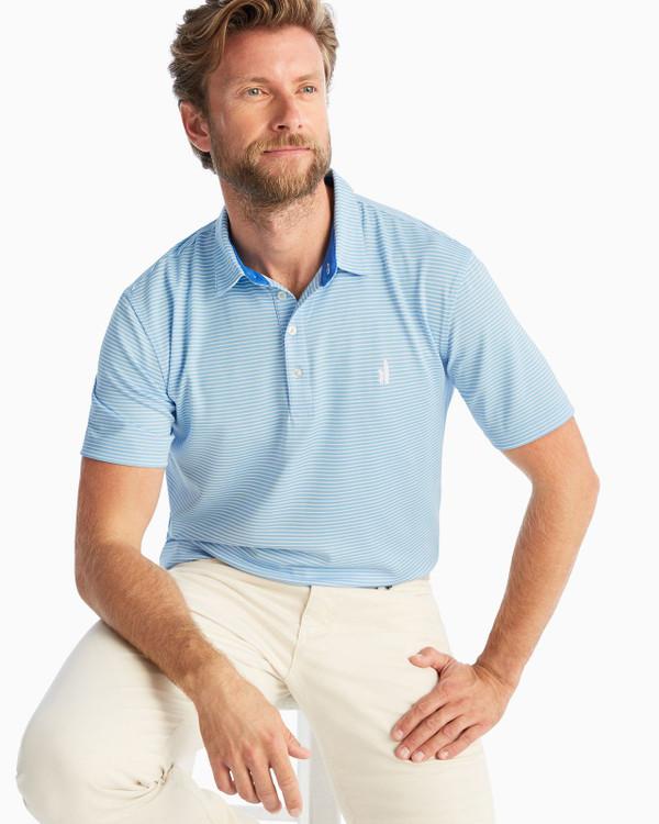 Fairway PREP-FORMANCE Pique Polo - Merrins Stripe in Gulf Blue by johnnie-O