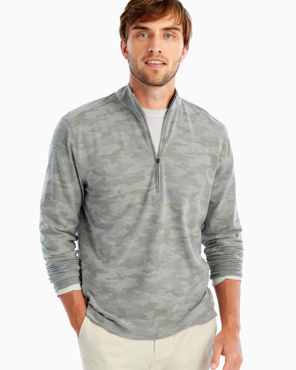 Rodney Printed PREP-FORMANCE Microfleece 1/4 Zip Pullover in Light Grey by johnnie-O