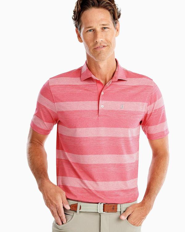 Birdie PREP-FORMANCE Jersey Polo - McLean Stripe in Strawberry by johnnie-O