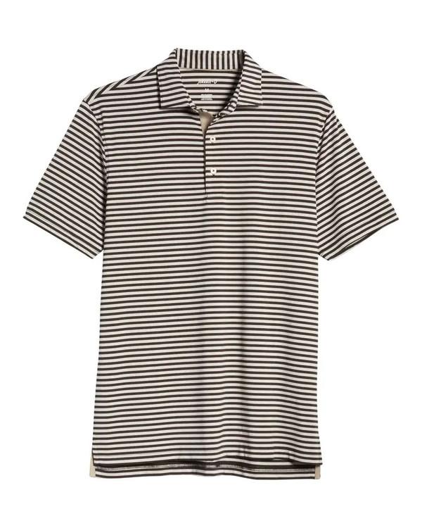 Birdie PREP-FORMANCE Jersey Polo -Smith Stripe in Black by johnnie-O