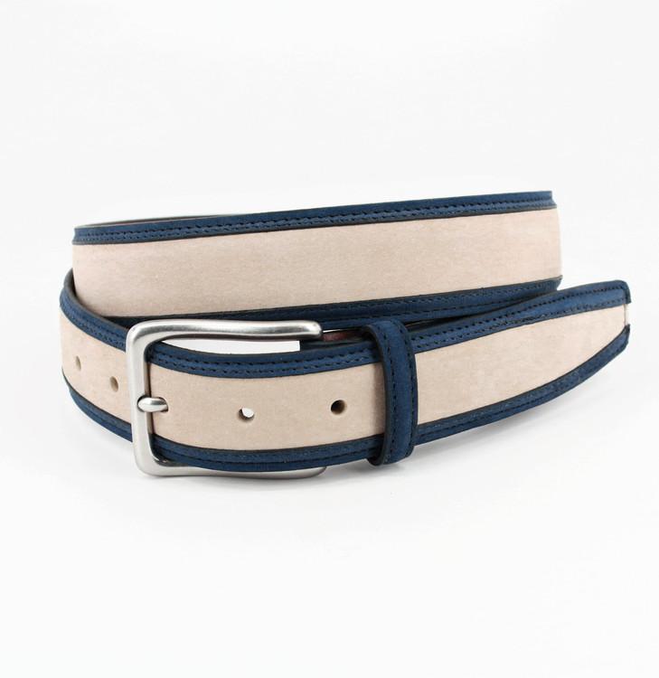 Italian Nubuck Calfskin Inlay Belt in Blue and Cream by Torino Leather Co.