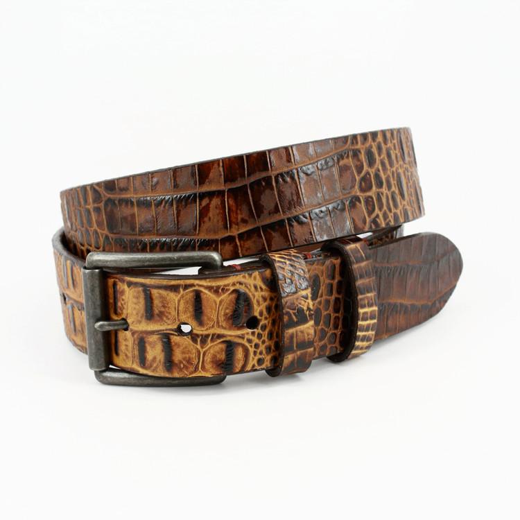 Antiqued Crocodile Grain Embossed Calfskin Belt in Cognac by Torino Leather Co.