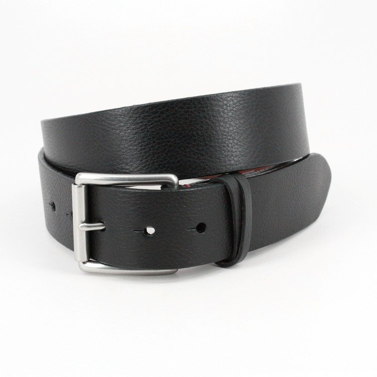 Italian Burnished Shrunken Calfskin Belt in Black by Torino Leather Co.