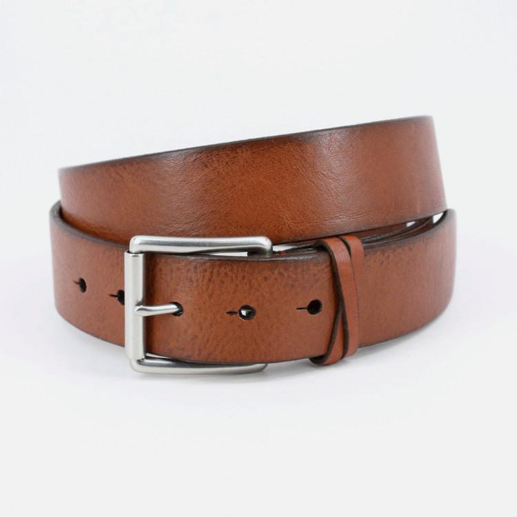 Italian Burnished Shrunken Calfskin Belt in Saddle by Torino Leather Co.