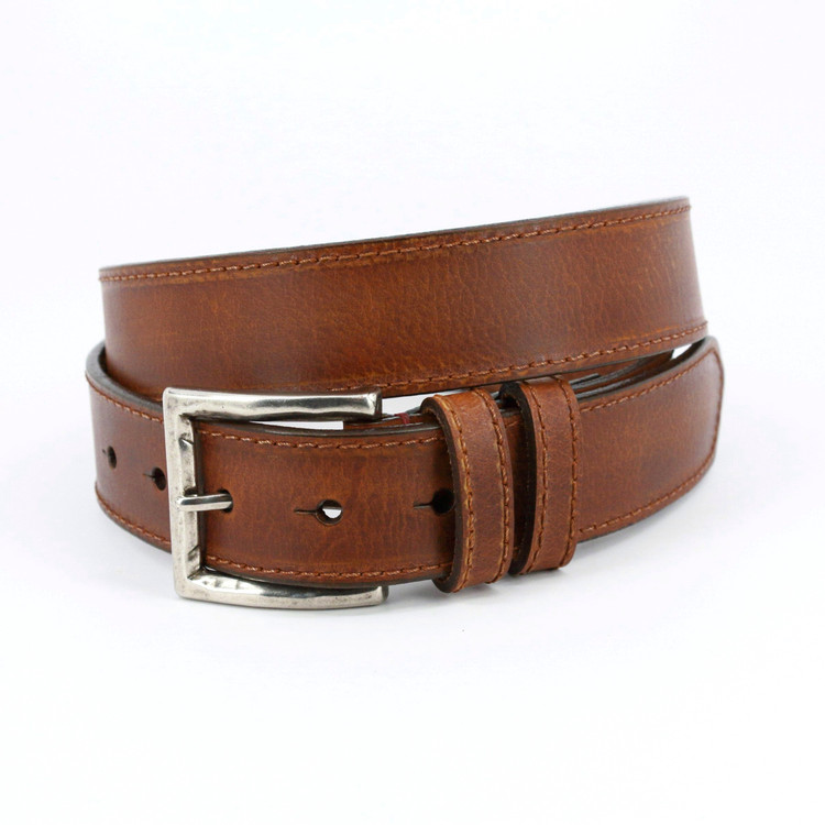 Antiqued Waxed Harness Leather Belt in Tan by Torino Leather Co.