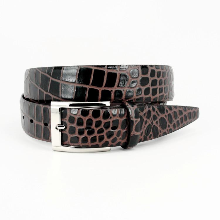 Bi-Color Crocodile Embossed Calfskin Belt in Brown/Cognac by Torino Leather Co.