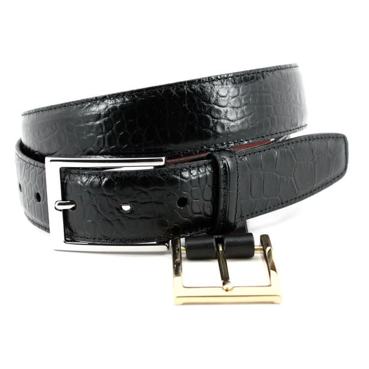 Alligator Grain Embossed Calfskin Belt in Black (EXTENDED SIZES) by Torino Leather Co.
