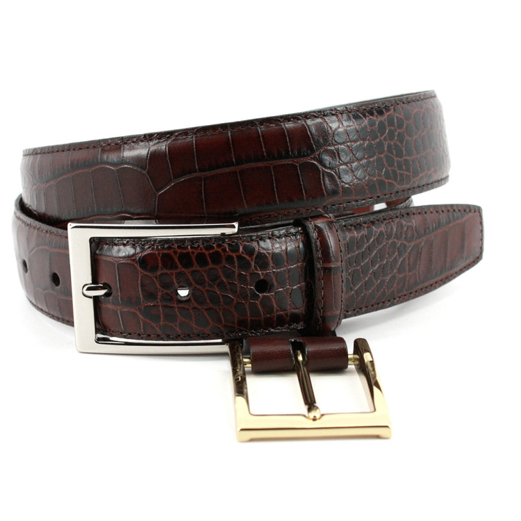 Alligator Grain Embossed Calfskin Belt in Brown (EXTENDED SIZES) by Torino Leather Co.