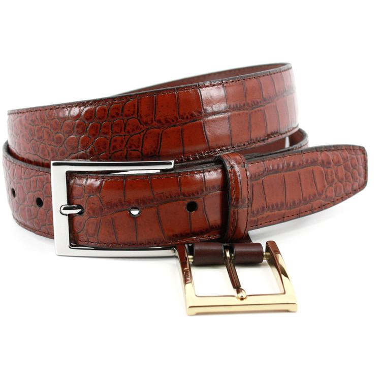 Alligator Grain Embossed Calfskin Belt in Cognac (EXTENDED SIZES) by Torino Leather Co.