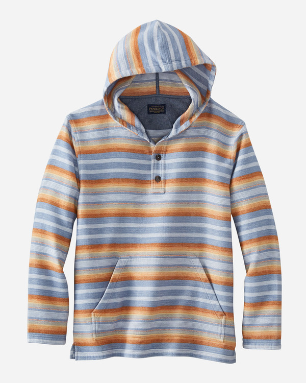 Doublesoft Striped Driftwood Hoodie in Blue by Pendleton