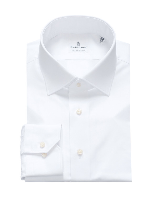 Fine Twill Classic Fit Dress Shirt with Spread Collar in White by Emanuel Berg