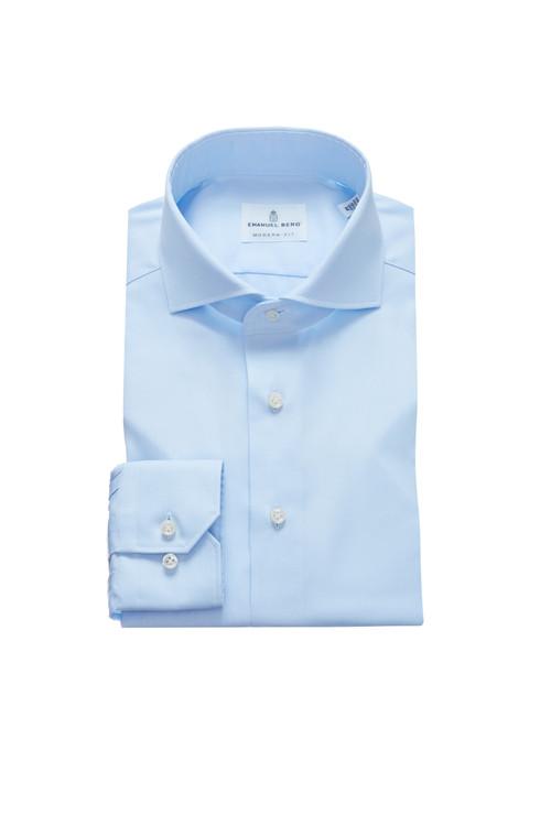 Fine Twill Modern Fit Dress Shirt with Cutaway Collar in Light Blue by Emanuel Berg