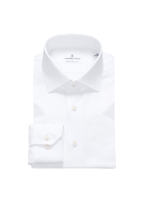 Fine Twill Modern Fit Dress Shirt with Spread Collar in White by Emanuel Berg