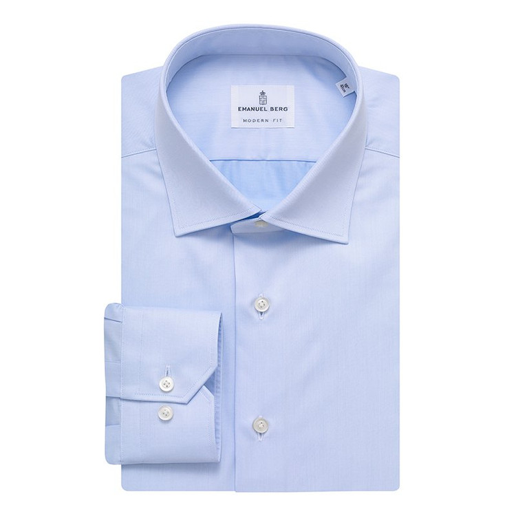 Fine Twill Modern Fit Dress Shirt with Spread Collar in Light Blue by Emanuel Berg