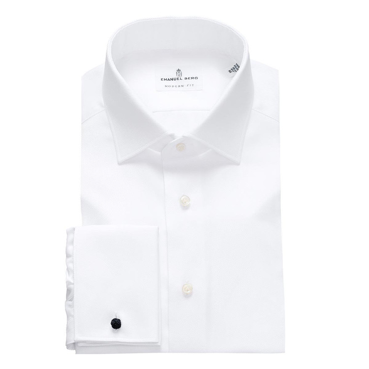 Fine Twill Modern Fit Dress Shirt with Spread Collar and a Double Cuff in White by Emanuel Berg