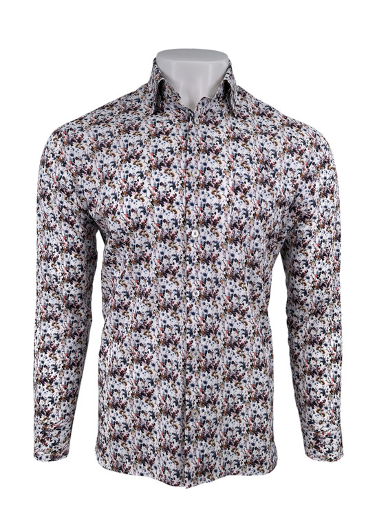 Luxe Italian Poplin with Floral Print Sport Shirt in Denim by Calder Carmel