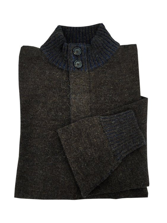 Royal Alpaca Jersey Stitch 2-Button 1/2 Zip Mock Sweater in Chocolate and Midnight by Peru Unlimited