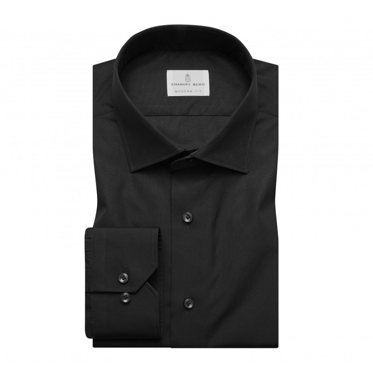 Fine Poplin Modern Fit Dress Shirt with Spread Collar in Black by Emanuel Berg