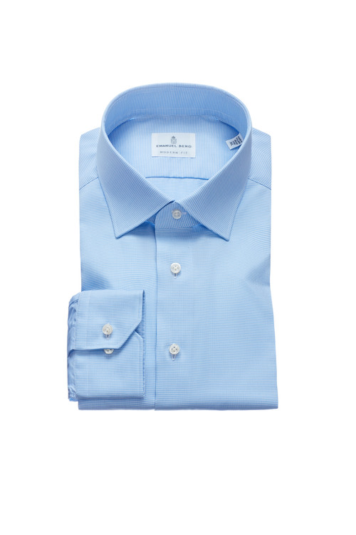 Fine Twill Modern Fit Dress Shirt with Spread Collar in Light Blue Check by Emanuel Berg