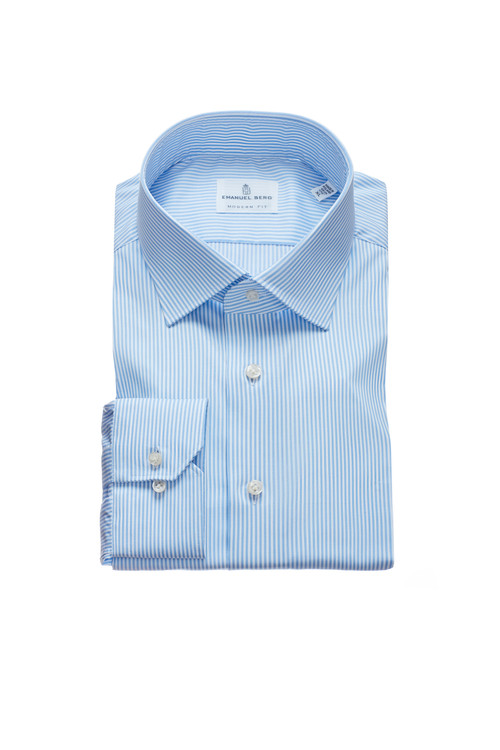 Fine Twill Modern Fit Dress Shirt with Spread Collar in Light Blue Stripes by Emanuel Berg