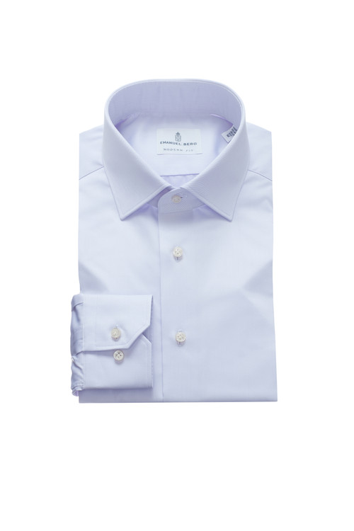 Fine Twill Modern Fit Dress Shirt with Spread Collar in Lilac by Emanuel Berg