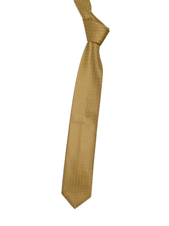 Gold and Navy Neat Woven Silk Tie by Robert Jensen