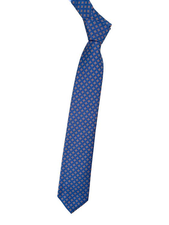 Blue and Orange Geometric Woven Silk Tie by Robert Jensen