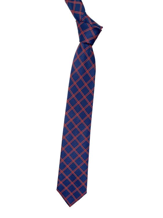 Navy and Orange Stripe Woven Silk Tie by Robert Jensen
