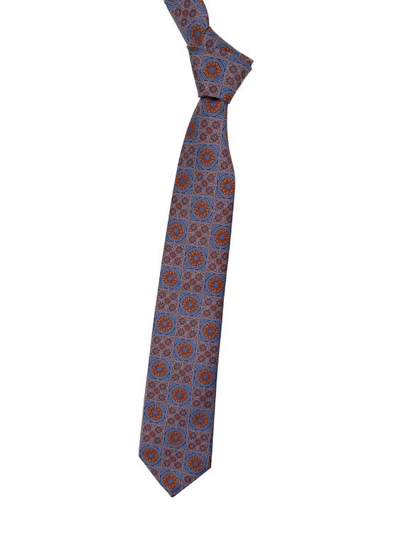 Blue and Orange Medallion Woven Silk Tie by Robert Jensen
