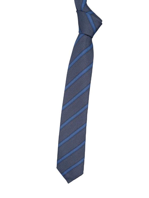 Light Blue and Brown Stripe Silk Tie by Robert Jensen