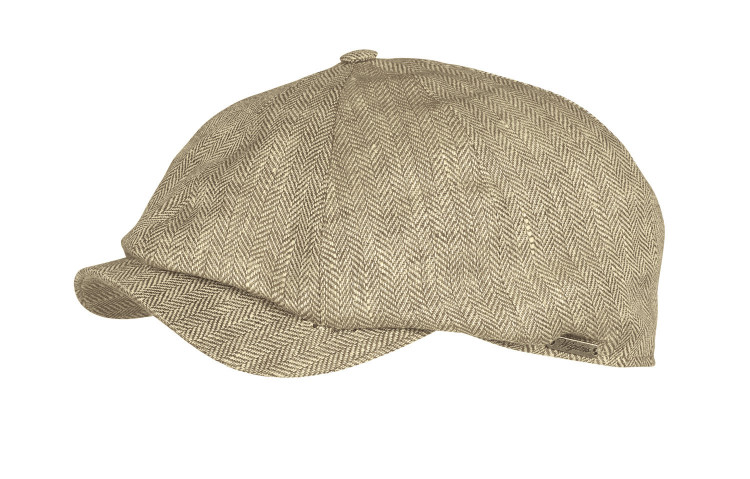 Classic Linen Herringbone Newsboy Classic Cap in Olive by Wigens