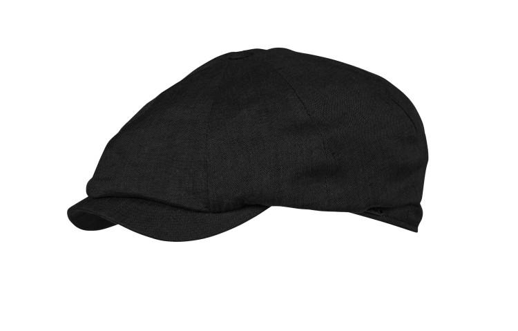 Classic Linen Newsboy Cap in Black by Wigens