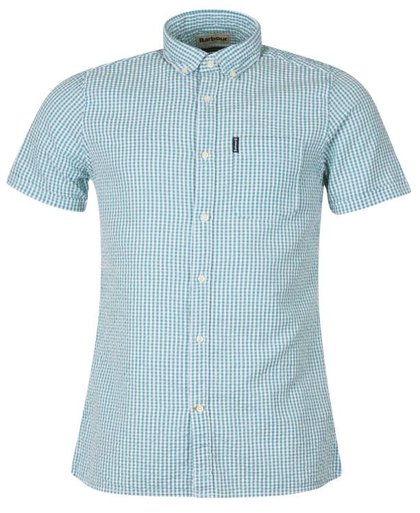 Seersucker 8 Short Sleeved Tailored Shirt in Aqua by Barbour