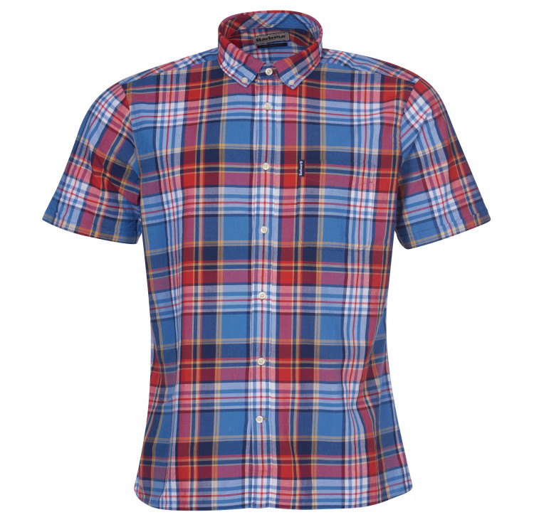 Madras 9 Short Sleeved Tailored Shirt in Medium Blue by Barbour