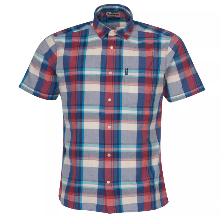 Madras 7 Short Sleeved Summer Shirt in Blue by Barbour
