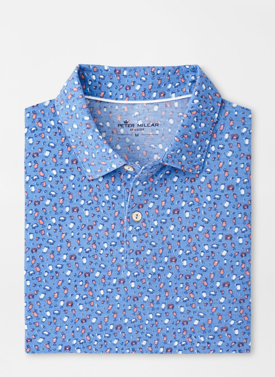 drirelease® Natural Touch Cocktails & Claws Polo in Coastal Blue by Peter Millar